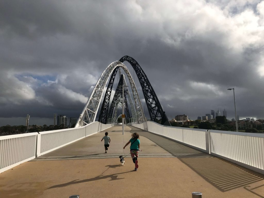Running onto Matagarup Bridge, Perth with a storm threatening!